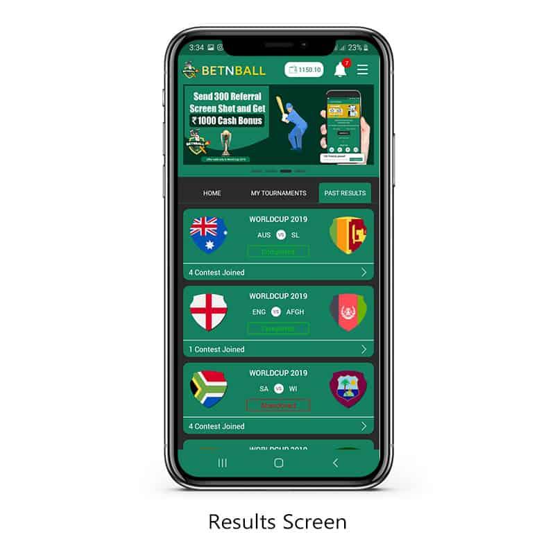 Result screen betnball