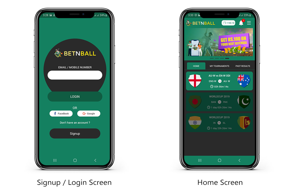 signup and login screen and home creen betnball